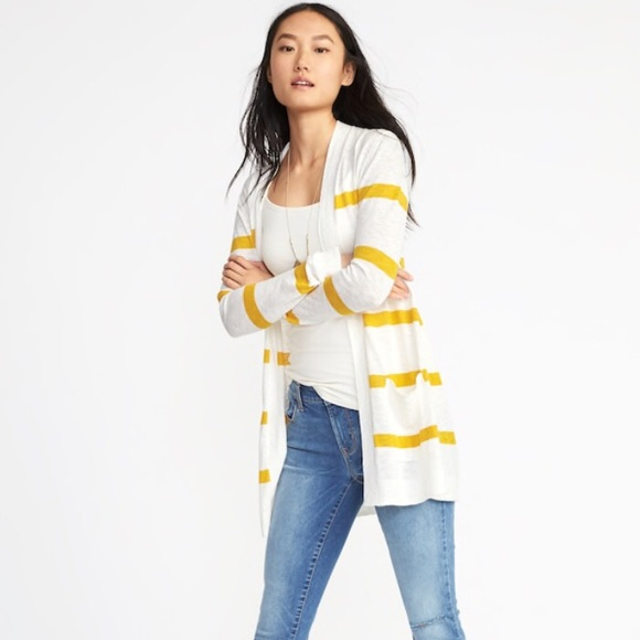 14d5897c42c88 Old Navy Sweaters | Nwt Yellow Stripe Open Cardigan Xs And Tank S ...